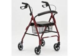 Rolator pliabil cu 4 roti, frana, scaun si cos de cumparaturi, din aluminiu